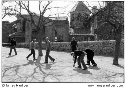 Men playing boules, Le Monastier, Cévennes, France, 1982