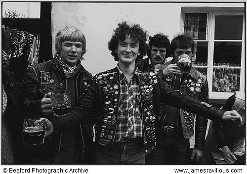 Lads drinking at the Fair, Winkleigh, Devon, England, 1980