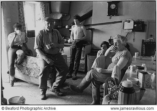 The French family watching the Cup Final, Brendon Barton, Exmoor, England, 1985